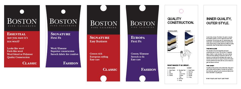 Boston Menswear Clothing Tags